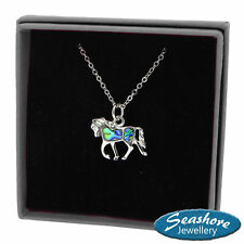 Horse Necklace Paua Abalone Shell Pendant Womens Silver Jewellery Gift Boxed
