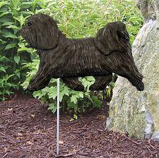 Havanese Outdoor Garden Dog Sign Hand Painted Figure Dark Grey