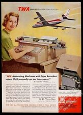 1961 TWA airlines Boeing 707 plane art NCR accounting machine vintage print ad