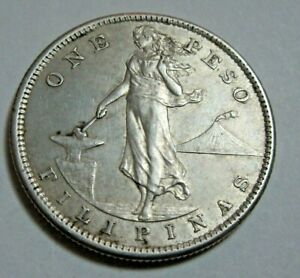 1907 Filipinas One Silver Peso U.S. Administration SF Mint Lady Standing *