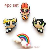 3 or 4pcs Rainbow Powerpuff Girls PVC Shoe Charms for Clogs Bracelet Gift Set