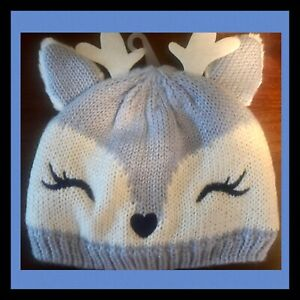 """NWT Girl 2T-3T Gymboree """"FAIRYTALE FOREST"""" BLUE Cotton Line FAWN DEER Winter HAT"""
