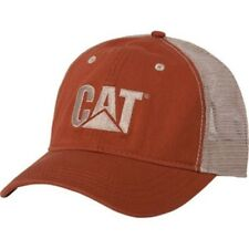 CAT CATERPILLAR  *BURNT ORANGE & TAN MESH* Trademark Logo Twill HAT CAP NEW CA51