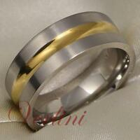Men's Titanium Ring Wedding Band Bridal Jewelry Brushed & Gold Tone Size 6-13