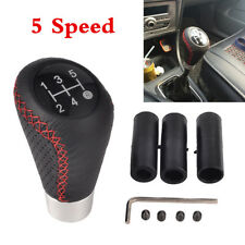 Leather Red Stitch Manual Car Autos 5-Speed Gear Stick Shift Knob Shifter Kit