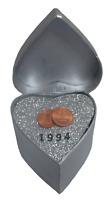 Silberhochzeit Geschenk 2x 1 Pf Münzen von 1994 bankfrisch handmade WallaBundu