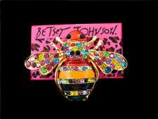 Honeybee Charm Animal Brooch Pin Betsey Johnson Women's Crystal Rhinestone Bee