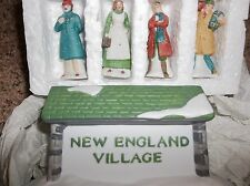 Department 56 New England Village Sign #65706 and 4 Villagers