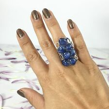 14K White Gold Cabochon Kyanite Blue Sapphire and Diamond Cocktail Ring
