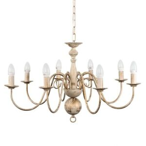 Gothica Flemish Style 8 Light Ceiling Chandelier Distressed White 22131