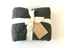 WEST ELM new new with tags NWT king size dark grey slate pillow sham braided bed