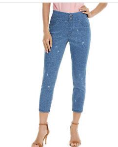 HUE® Women's High-Rise Ditsy Floral-Print Denim Skimmer Leggings, Blue, Size: XS
