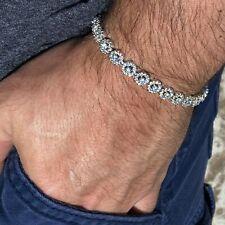 "Real Solid 925 Sterling Silver Flower Cluster Tennis Bracelet Iced 7.5"" Inch"