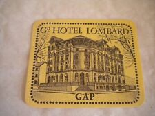 Vintage Luggage label Grand Hotel Lombard GAP 1950s