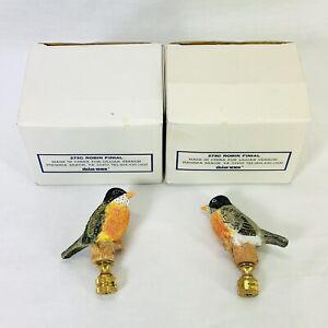 """Vintage Lamp Finials Bird Robin Lillian Vernon 273C Pair NOS 3"""" Tall Orig Box"""