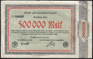 1923 500000 Mark Aachen Germany Vintage Old Emergency Paper Money Banknote F