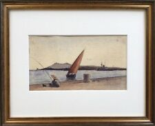 Toulon/Le Pêcheur,le voilier et le cuirassé.C.1890.Aquarelle.12x21.Cadre.