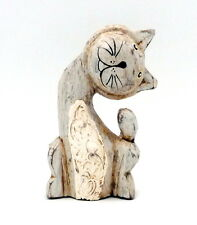 Vintage Grey Cat Lime Washed Wood Wooden Figurine Shabby Chic Statue Handmade