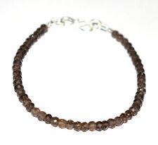 925 Sterling Silver Handmade Bronze Smoky Gemstone 8 Inch Bracelet 4-4.5mm K2114