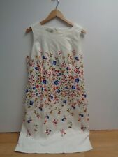 Ladies White Floral Hobbs Shift Dress Cotton Blend Stretch Bodycon Lined Size 16