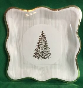 GOLD CHRISTMAS TREE GOLD TRIM DINNER PLATES BY C.R. GIBSON SQUARE NEW 16 PIECE