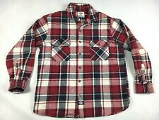 Dickies Red Plaid Heavy Flannel Button Down Shirt - Men's Size Large