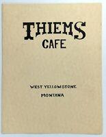 1980's THIEMS CAFE Restaurant West Yellowstone Montana Original Vintage Menu