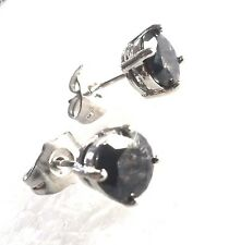 Classic round black sapphire 7mm WHITE GOLD gf silver stud earrings BOXD Plum UK