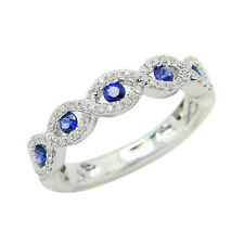 14K WHITE GOLD PAVE FILIGREE DIAMOND & SAPPHIRE INFINITY WEDDING BAND RING 7.25