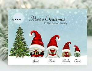 Personalised Gnome Family Christmas card Gonk family christmas card