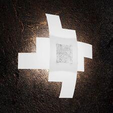 Plafoniera in vetro bianca e foglia argento moderna a 4 luci tpl 1121/55-FA