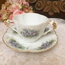 New ListingAntique Limoges France Handpainted Cream Soup Cup And Saucer w/ Flower Handles