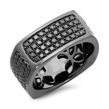 Mens 14K Gold Rhodium Black Diamond Square Flat Wedding Ring Band 1.62 TCW