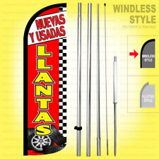 Nuevas Y Usadas Llantas Windless Swooper Flag Kit 15' Feather Banner Sign rz-h