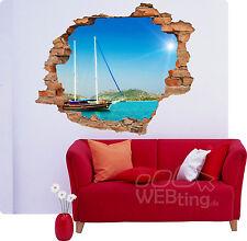 3D Wandbild |INSEL SCHIFF| Aufkleber Wandtattoo Wanddurchbruch Sticker Deko