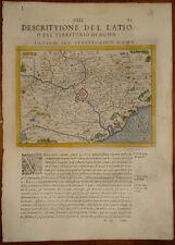 Stampa Antica Old print Magini 1596 mappa tolomeo Italia Lazio campagna romana