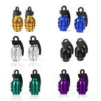 6 pairs metal car bike motorcycle grenade shaped tire dust cap valve cover PF