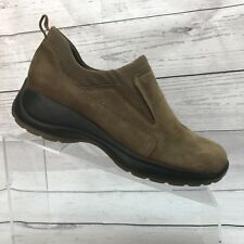 Bass Rally Women 7.5 Wide Brown Nubuck Leather Shoes Stretch Slip On Loafer