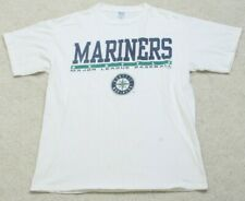 M&O Seattle Mariners White Short Sleeve Tee T-Shirt Top Cotton Size Large Mens