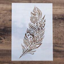 DIY Craft Mandala Feather Stencils For Painting On Wood Fabric Wall Art Decor