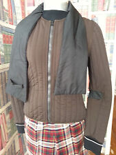 VTG Prada Jacket quilted Brown & Blk Zip Front knitted cuff sewn in ascot Size M
