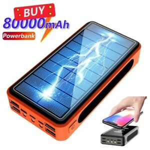 80000mAh Solar Wireless Power Bank.Large Capacity Portable Fast Charger with led