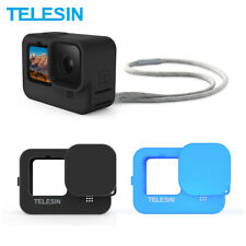 TELESIN Soft Rubber Case + Lens Cap + Adjustable Wrist Strap For GoPro Hero 9