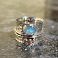 Ethiopian Opal Ring, Solid 925 Sterling Silver Spinner Ring, Opal Spinner Ring,