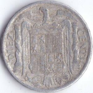 Spain 10 centimos 1941 (PLVS Variety) Rare