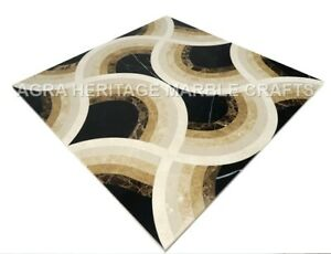 "24"" Elegant Marble Coffee Cafe Table Top Precious Inlay Arts Hallway Decor H4997"