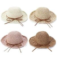 #QZO Girls Handmade Sun Hat Kids Summer Straw Hat Wide Brim Princess Beach Cap