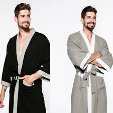Mens Bathrobe Cotton Hotel Waffle Lightweight Dressing Gown Robe M L XL Size