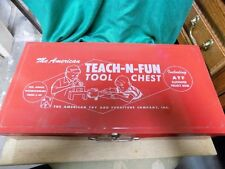 VINTAGE CHILD'S TOOL SET~THE AMERICAN TEACH-N-FUN TOOL CHEST~WOODWORKERS~METAL