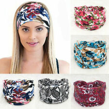 Boho Wide Cotton Stretch Headband Turban Sports Yoga Knotted Hairband Headwrap